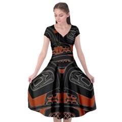 Traditional Northwest Coast Native Art Cap Sleeve Wrap Front Dress by Sapixe