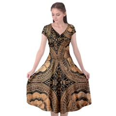 The Art Of Batik Printing Cap Sleeve Wrap Front Dress by Sapixe