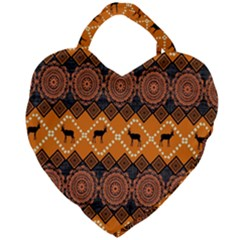Traditiona  Patterns And African Patterns Giant Heart Shaped Tote