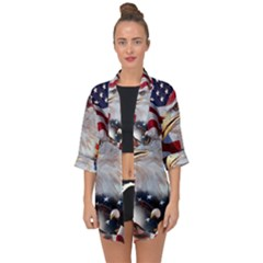 United States Of America Images Independence Day Open Front Chiffon Kimono by Sapixe
