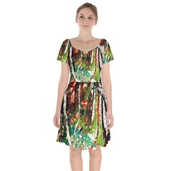 April   Birds Of Paradise Short Sleeve Bardot Dress by bestdesignintheworld