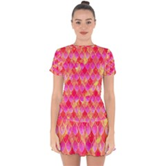 Squama Fhis Paint Flower Of Life Pattern Drop Hem Mini Chiffon Dress by Cveti