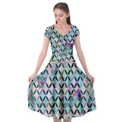 Rhomboids Flower Of Life Paint Pattern Cap Sleeve Wrap Front Dress