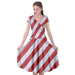Stripes3 White Marble & Red Denim (r) Cap Sleeve Wrap Front Dress by trendistuff