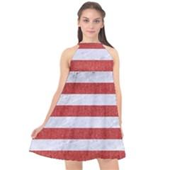 Stripes2white Marble & Red Denim Halter Neckline Chiffon Dress  by trendistuff
