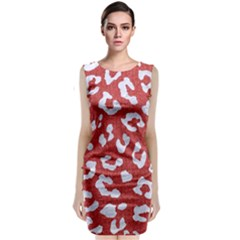Skin5 White Marble & Red Denim (r) Classic Sleeveless Midi Dress by trendistuff