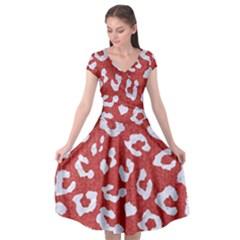 Skin5 White Marble & Red Denim (r) Cap Sleeve Wrap Front Dress by trendistuff