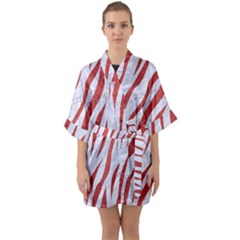 Skin3 White Marble & Red Denim (r) Quarter Sleeve Kimono Robe by trendistuff