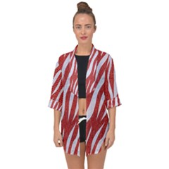 Skin3 White Marble & Red Denim Open Front Chiffon Kimono by trendistuff