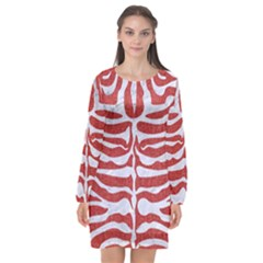 Skin2 White Marble & Red Denim Long Sleeve Chiffon Shift Dress  by trendistuff