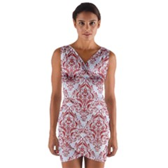 Damask1 White Marble & Red Denim (r) Wrap Front Bodycon Dress by trendistuff