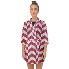 Chevron2 White Marble & Red Denim Half Sleeve Chiffon Kimono by trendistuff