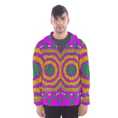 Peacock Flowers Ornate Decorative Happiness Hooded Wind Breaker (men) by pepitasart