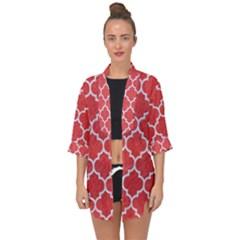 Tile1 White Marble & Red Colored Pencil Open Front Chiffon Kimono