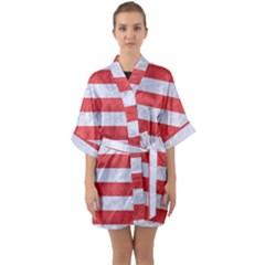 Stripes2white Marble & Red Colored Pencil Quarter Sleeve Kimono Robe