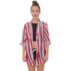 Skin4 White Marble & Red Colored Pencil (r) Open Front Chiffon Kimono