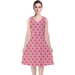 Scales2 White Marble & Red Colored Pencil V Neck Midi Sleeveless Dress