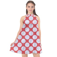 Circles2 White Marble & Red Colored Pencil Halter Neckline Chiffon Dress  by trendistuff