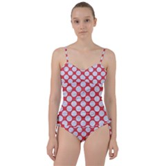 Circles2 White Marble & Red Colored Pencil Sweetheart Tankini Set