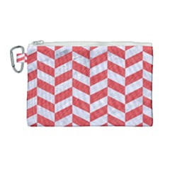 Chevron1 White Marble & Red Colored Pencil Canvas Cosmetic Bag (large) by trendistuff
