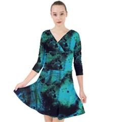 Blue Options 8 Quarter Sleeve Front Wrap Dress