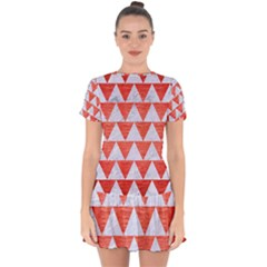 Triangle2 White Marble & Red Brushed Metal Drop Hem Mini Chiffon Dress by trendistuff