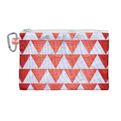 Triangle2 White Marble & Red Brushed Metal Canvas Cosmetic Bag (large) by trendistuff