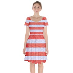 Stripes2white Marble & Red Brushed Metal Short Sleeve Bardot Dress by trendistuff