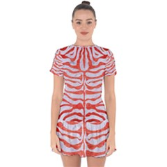 Skin2 White Marble & Red Brushed Metal (r) Drop Hem Mini Chiffon Dress by trendistuff