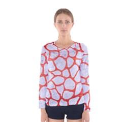 Skin1 White Marble & Red Brushed Metal Women s Long Sleeve Tee by trendistuff