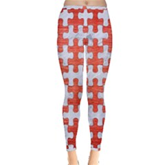 Puzzle1 White Marble & Red Brushed Metal Inside Out Leggings by trendistuff