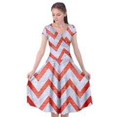 Chevron9 White Marble & Red Brushed Metal (r) Cap Sleeve Wrap Front Dress by trendistuff