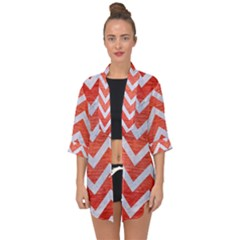 Chevron9 White Marble & Red Brushed Metal Open Front Chiffon Kimono by trendistuff