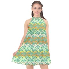 Colorful Tropical Print Pattern Halter Neckline Chiffon Dress  by dflcprints