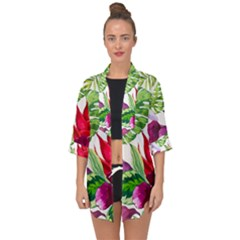 Vector Pattern Tropical Open Front Chiffon Kimono by Sapixe