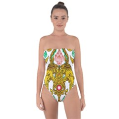 Traditional Thai Style Painting Tie Back One Piece Swimsuit