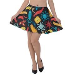 Virus Pattern Velvet Skater Skirt