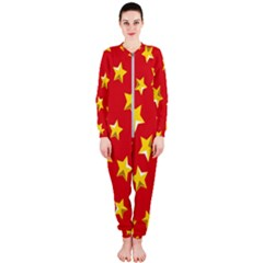 Yellow Stars Red Background Pattern Onepiece Jumpsuit (ladies)  by Sapixe