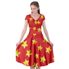 Yellow Stars Red Background Pattern Cap Sleeve Wrap Front Dress by Sapixe