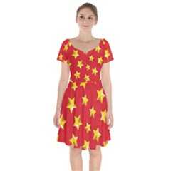 Yellow Stars Red Background Pattern Short Sleeve Bardot Dress by Sapixe
