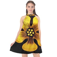 Yellow Flower Stained Glass Colorful Glass Halter Neckline Chiffon Dress  by Sapixe