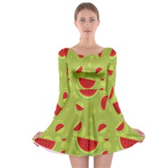 Watermelon Fruit Patterns Long Sleeve Skater Dress by Sapixe