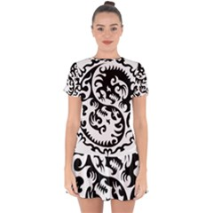 Ying Yang Tattoo Drop Hem Mini Chiffon Dress by Sapixe
