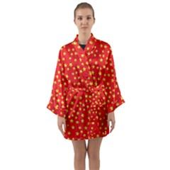 Yellow Stars Red Background Long Sleeve Kimono Robe by Sapixe