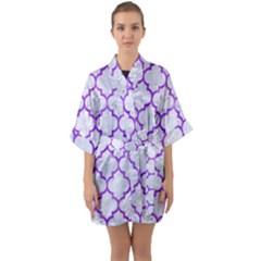 Tile1 White Marble & Purple Watercolor (r) Quarter Sleeve Kimono Robe