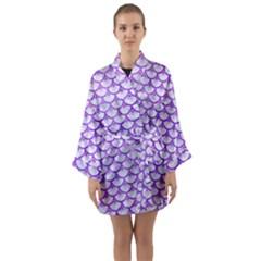 Scales3 White Marble & Purple Watercolor (r) Long Sleeve Kimono Robe by trendistuff