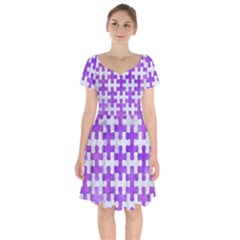 Puzzle1 White Marble & Purple Watercolor Short Sleeve Bardot Dress by trendistuff