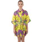 Yellow Blue Red Green Violet Purple 59 Quarter Sleeve Kimono Robe