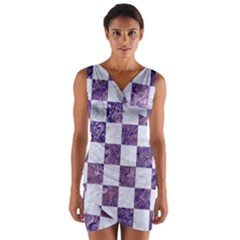 Square1 White Marble & Purple Marble Wrap Front Bodycon Dress by trendistuff