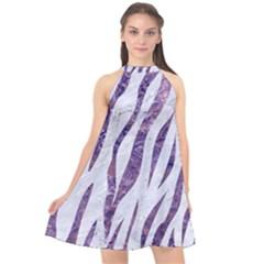 Skin3 White Marble & Purple Marble (r) Halter Neckline Chiffon Dress  by trendistuff
